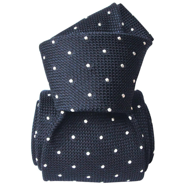 Pois-Grenadine Fina Silk Tie-Navy - Luxury Neck ties