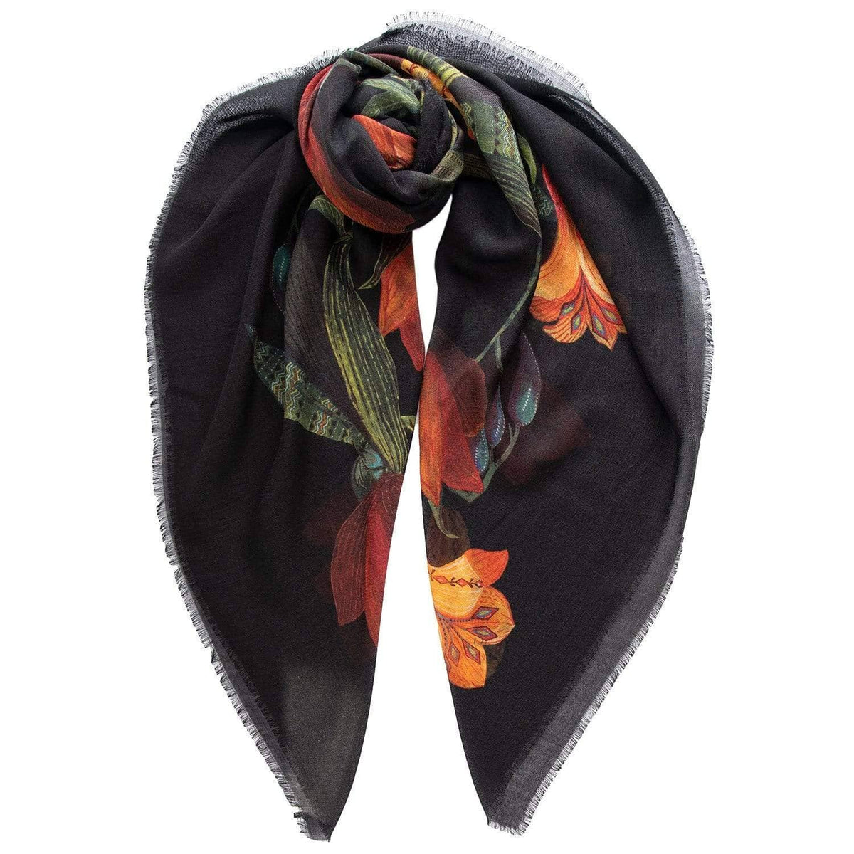 Wool and Silk Scarf - Extra Large - Terracotta
