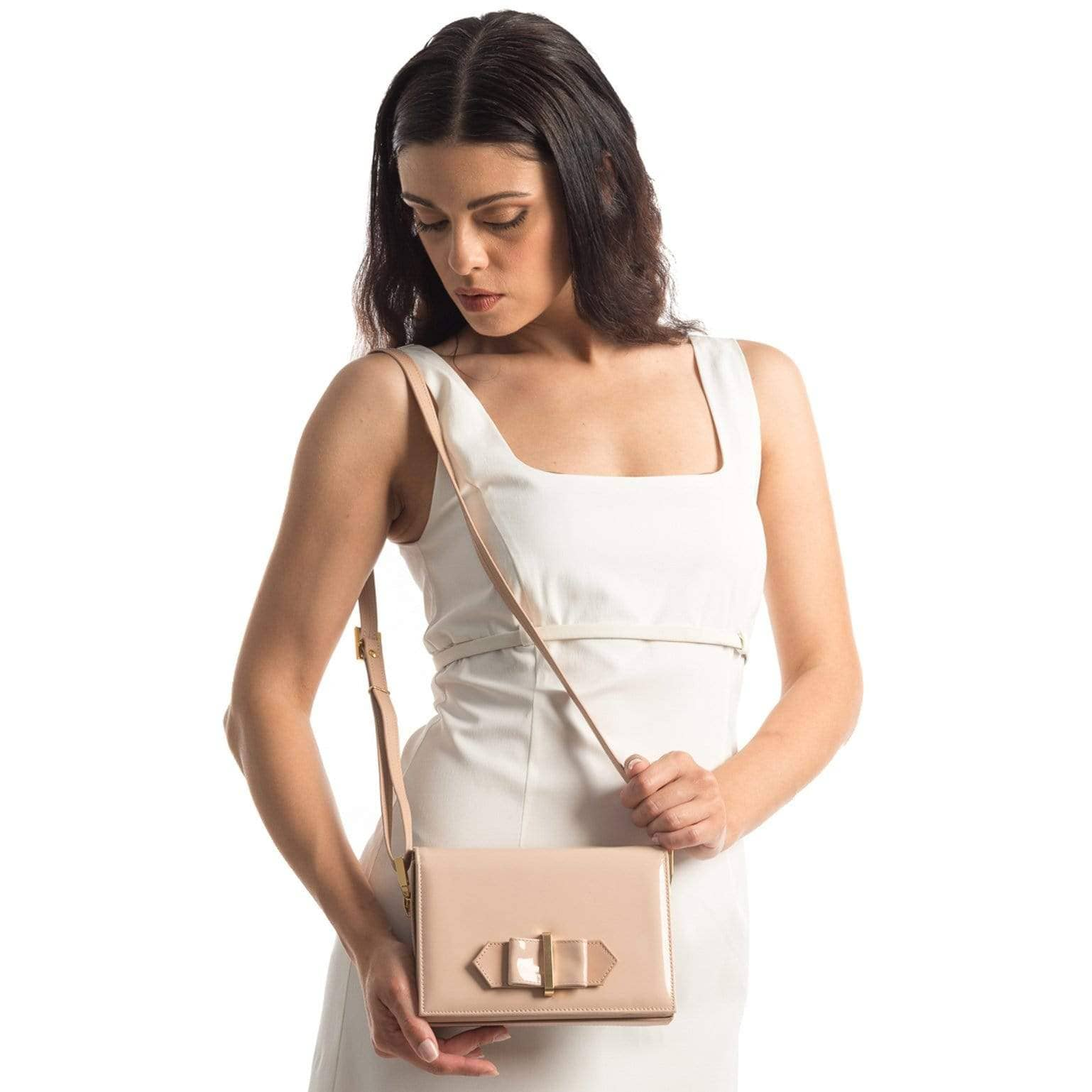 pink Italian leather evening bag with strap