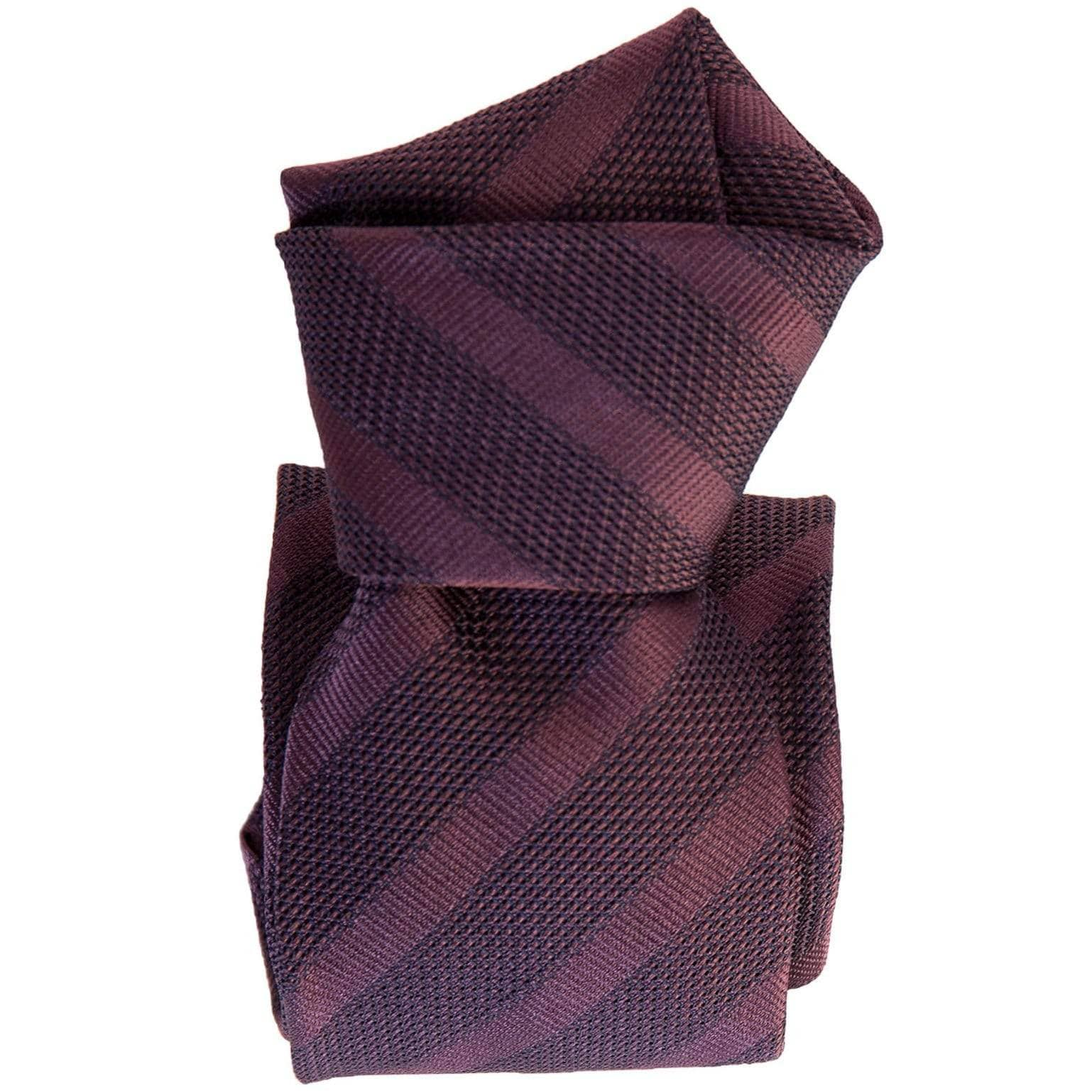Italian Burgundy Grenadine Silk Tie - Woven Striped