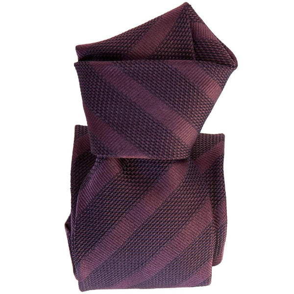 Italian Burgundy Grenadine Silk Tie - Striped
