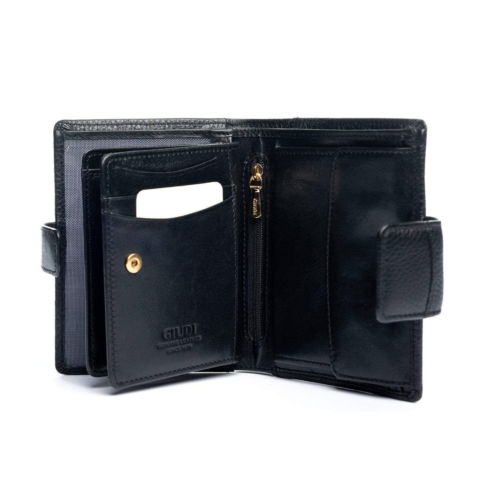 Womens Black Leather Wallet - Genuine Made in Italy