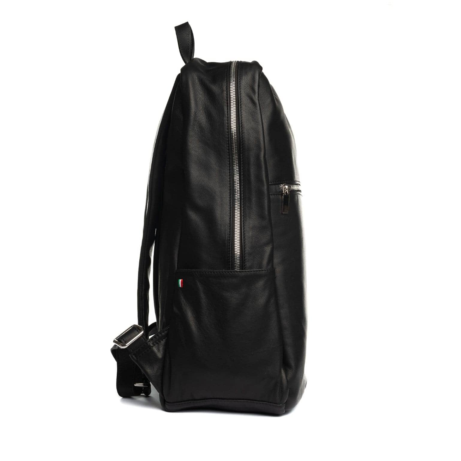 black handmade leather backpack