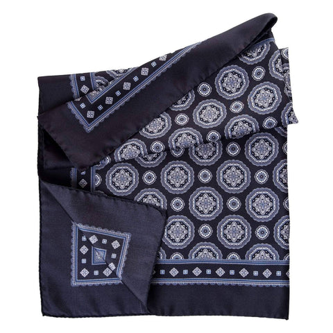 Italian black silk square scarf