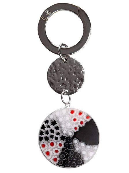 Millefiori Venetian Glass Purse Charm-Black and White