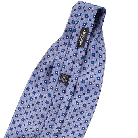 Mens Silk Day Cravat Ascot Tie-Blue Geometric Print