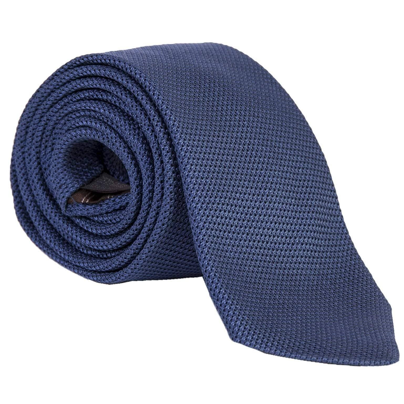 Extra Long Silk Tie - Blue Grenadine - Made in Italy