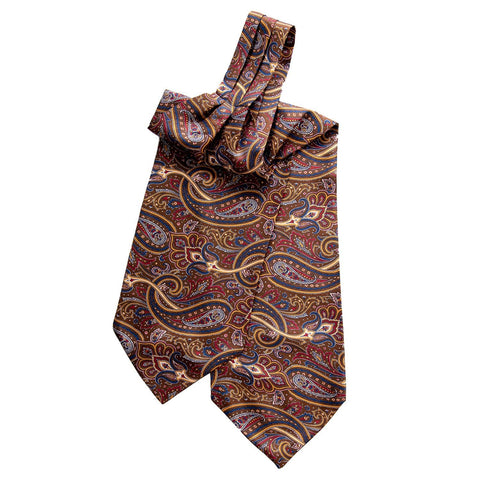 Mens Italian Silk Paisley Ascot Tie-Brown