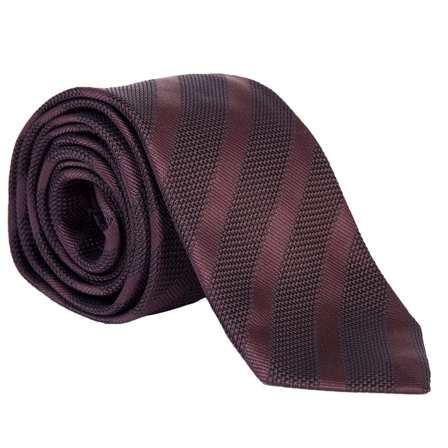 Italian Extra Long Grenadine Tie - Burgundy Striped
