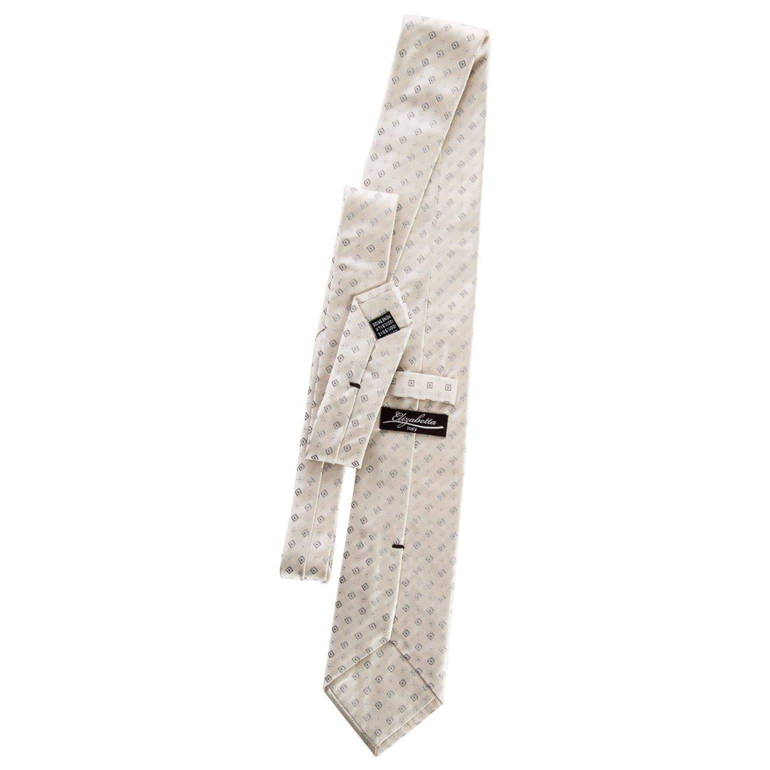 luxury ivory and grey silk italian necktie