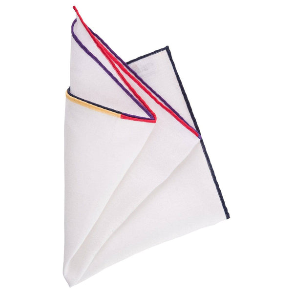 Mens White Linen Pocket Square w/ 4 colors Hand Rolled Hem