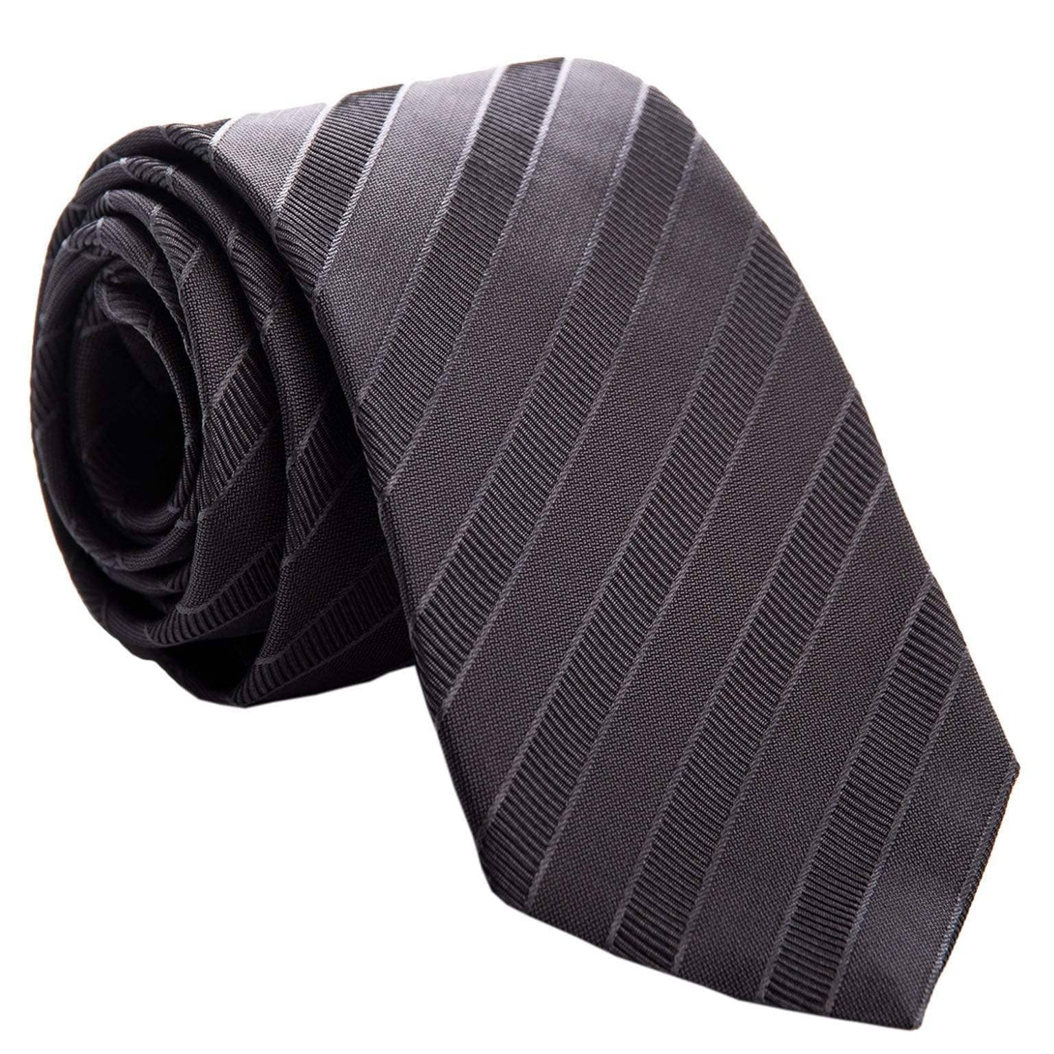 Extra Long Grey Striped Tie - 3 Fold - Made in Italy