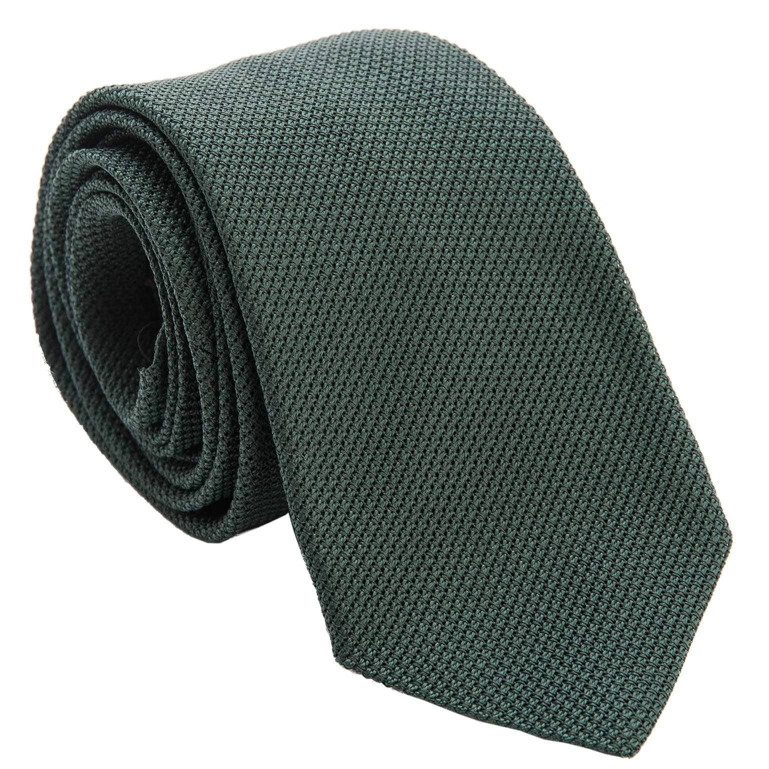 Italian Extra Long Grenadine Silk Tie - Forest Green