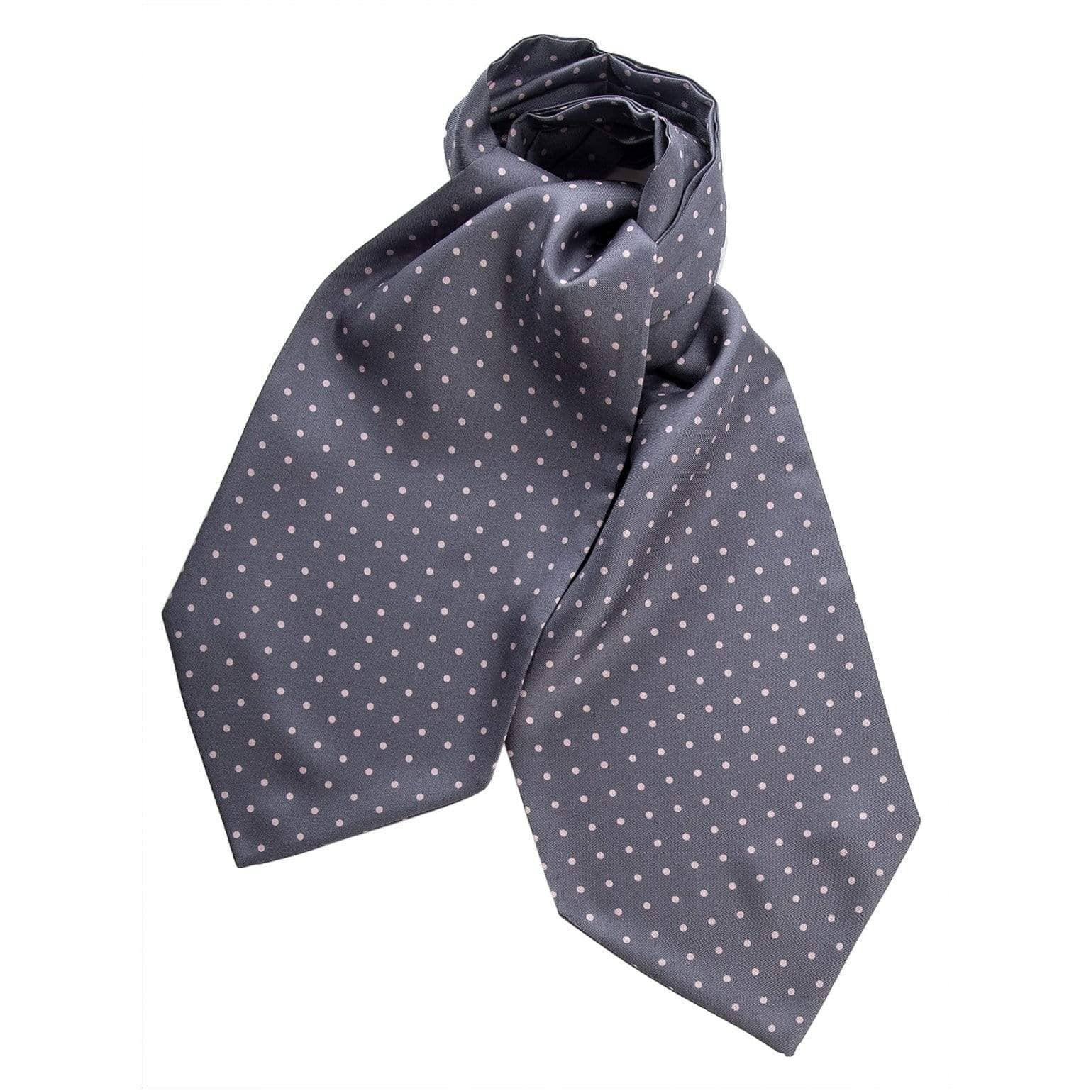 Silk Ascot Cravat Tie - Gray Polka Dot - Made in Italy