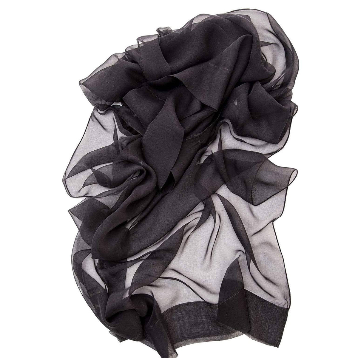 Black Evening Wrap Shawl - Italian Silk Chiffon
