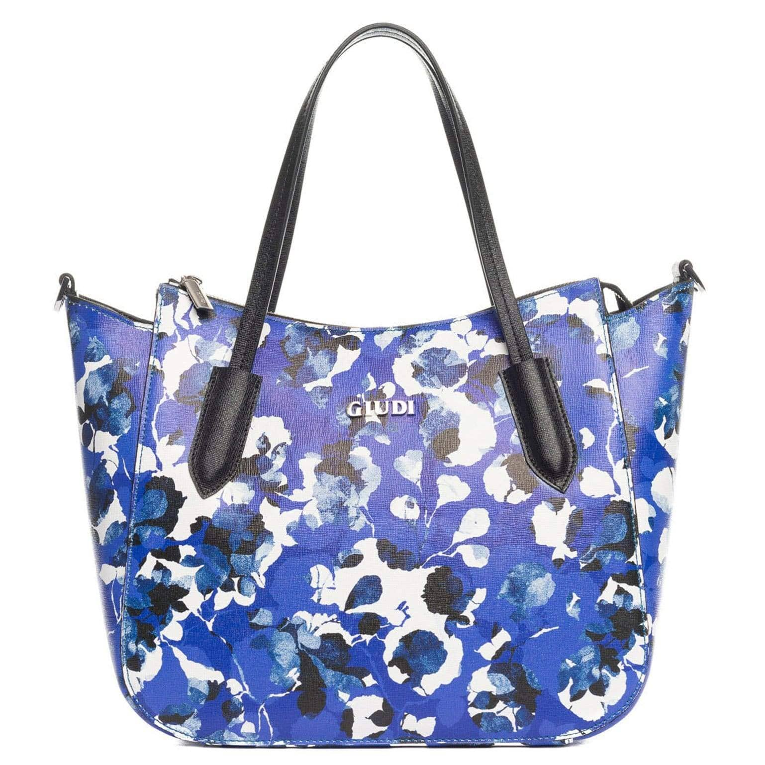 blue floral saffiano leather handbag