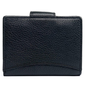 textured black leather wallet