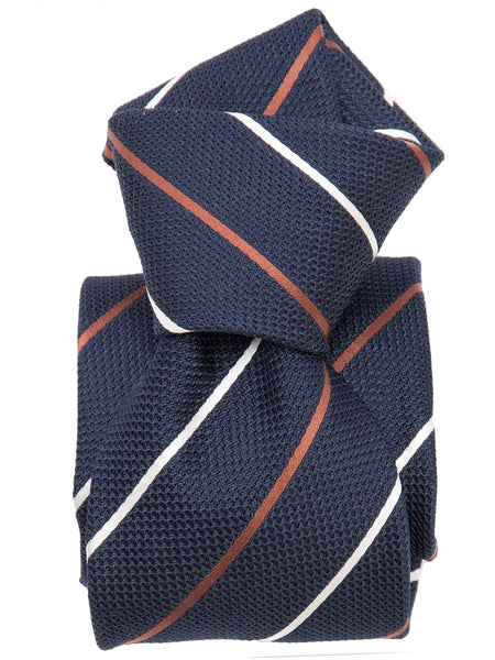 Navy Silk Grenadine Tie - Striped - Made in Italy