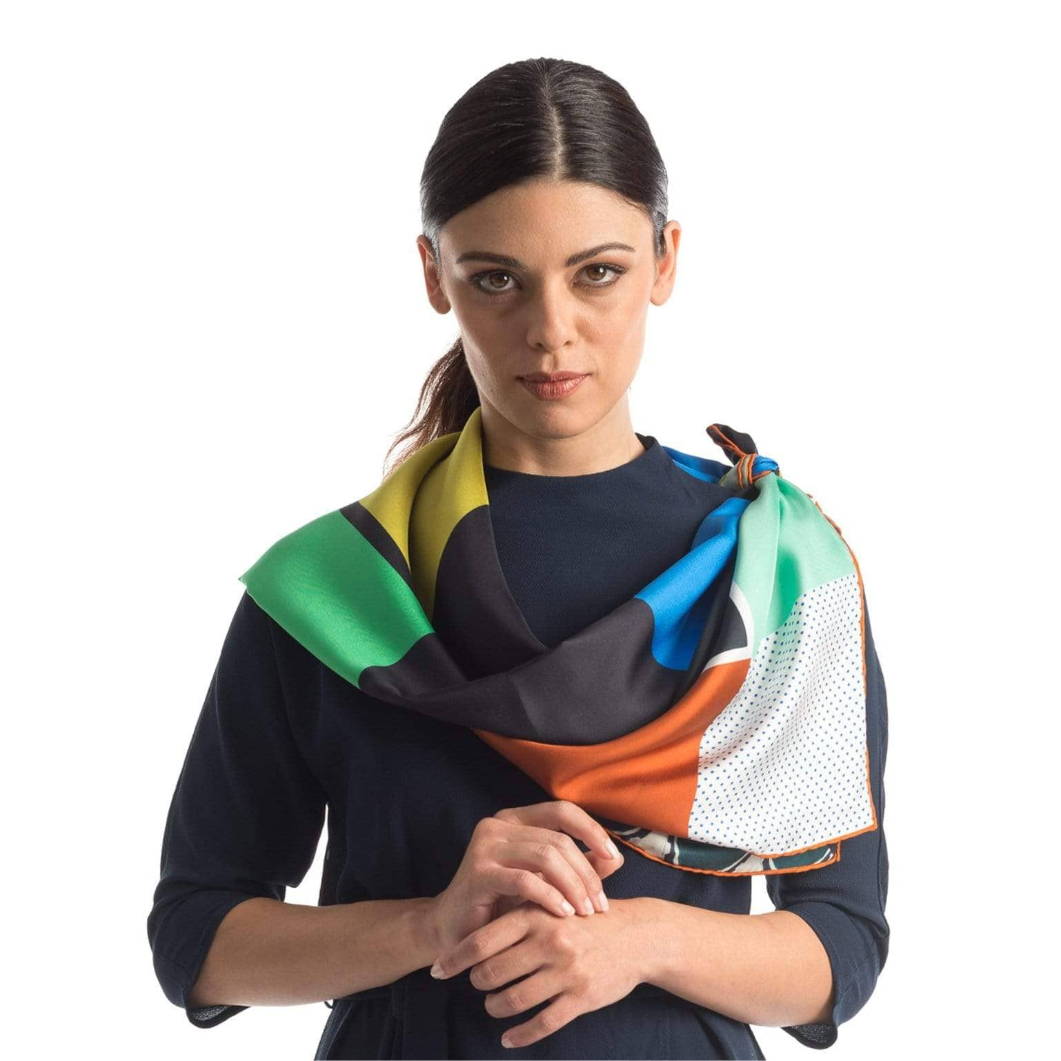 Large Square Silk Scarf - Geometric - Made in Italy