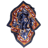 Mens Silk Neckerchief - Blue Equestrian Print