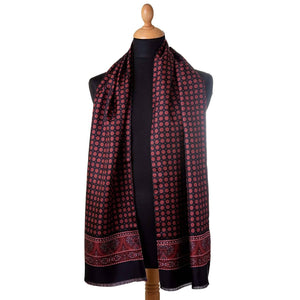 luxury silk wool reversible scarf