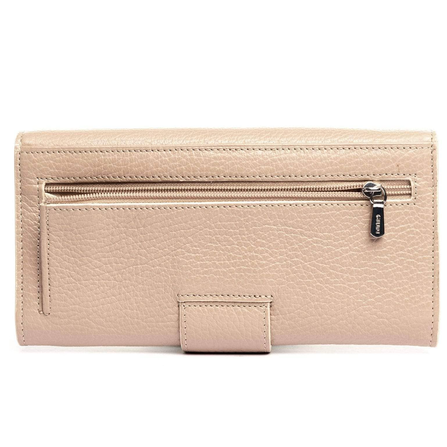 Womens Leather Clutch Wallet - Beige - Made in Italy