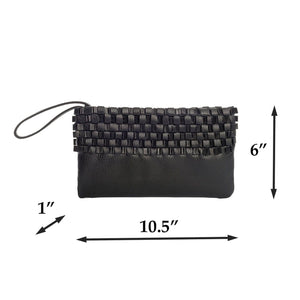 Black Clutch Bag - Handmade in Italy - Woven Leather