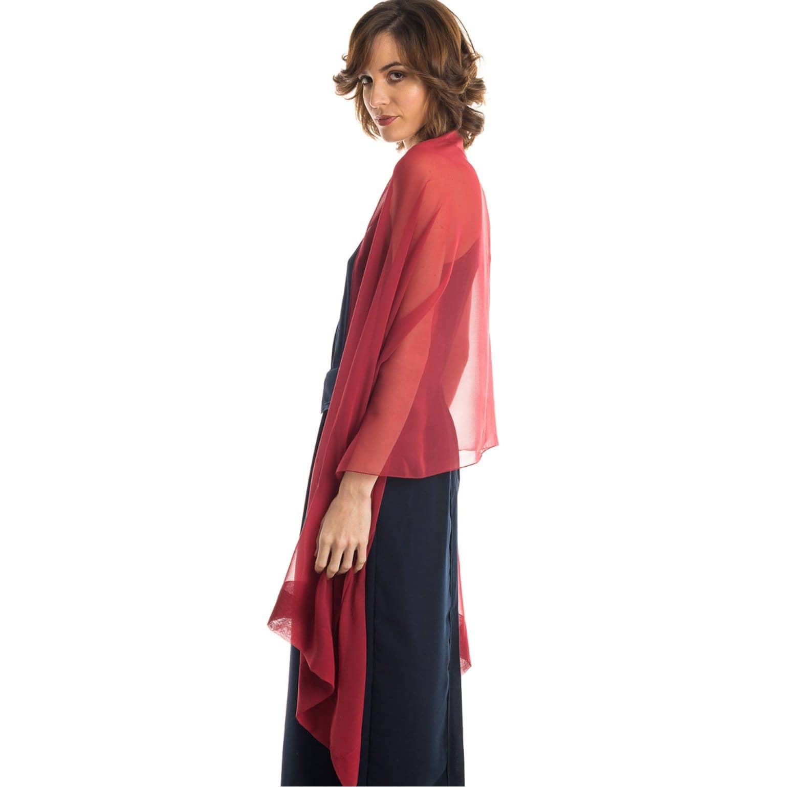 cranberry red silk chiffon wrap