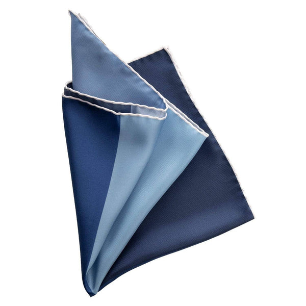 Hand Rolled Silk Pocket Square - 4 Shades of Blue