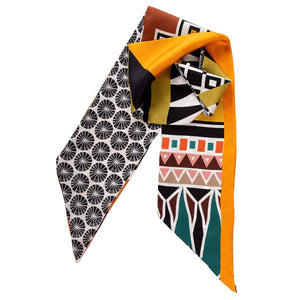 Ribbon Scarf - Multicolor Geometric - Made in Italy
