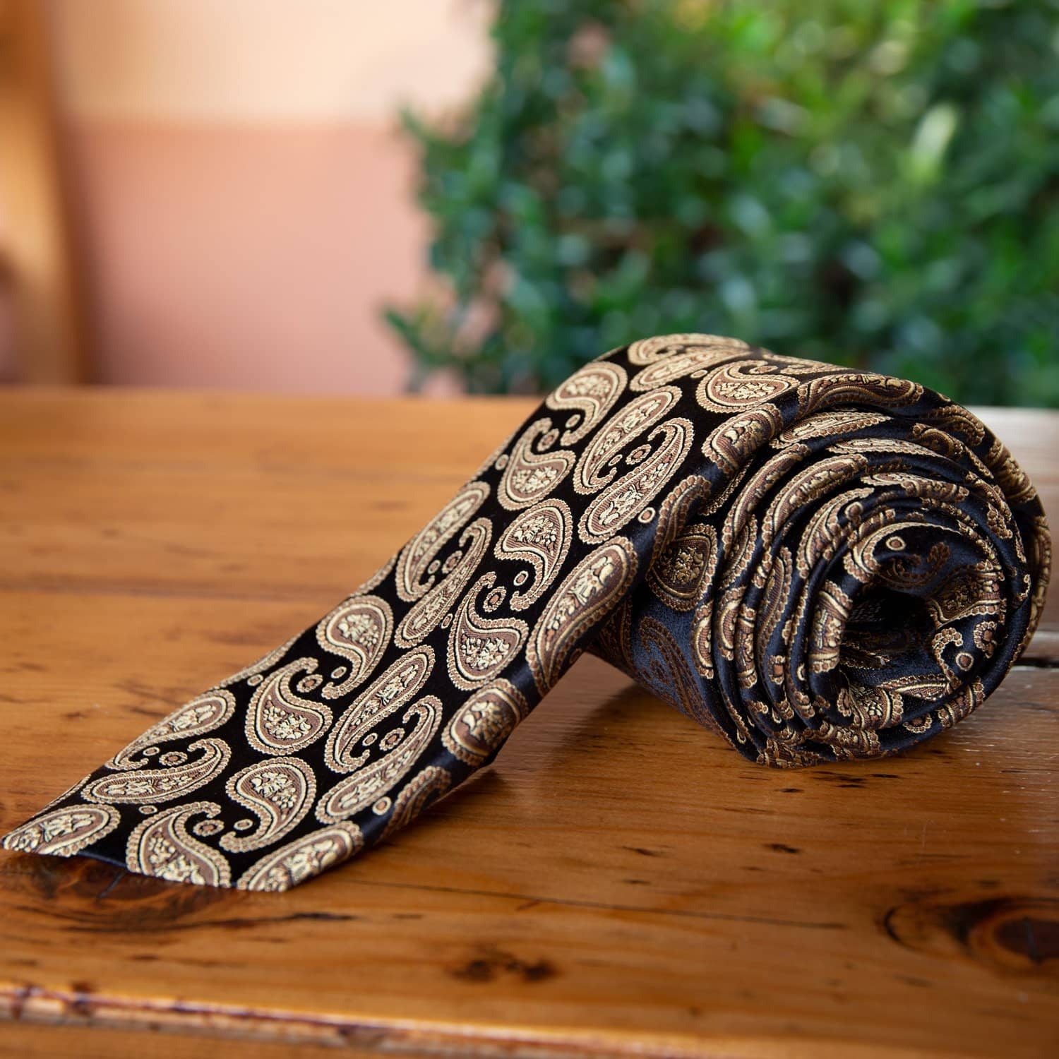 Extra Long Black and Gold Paisley Tie - Made in Como