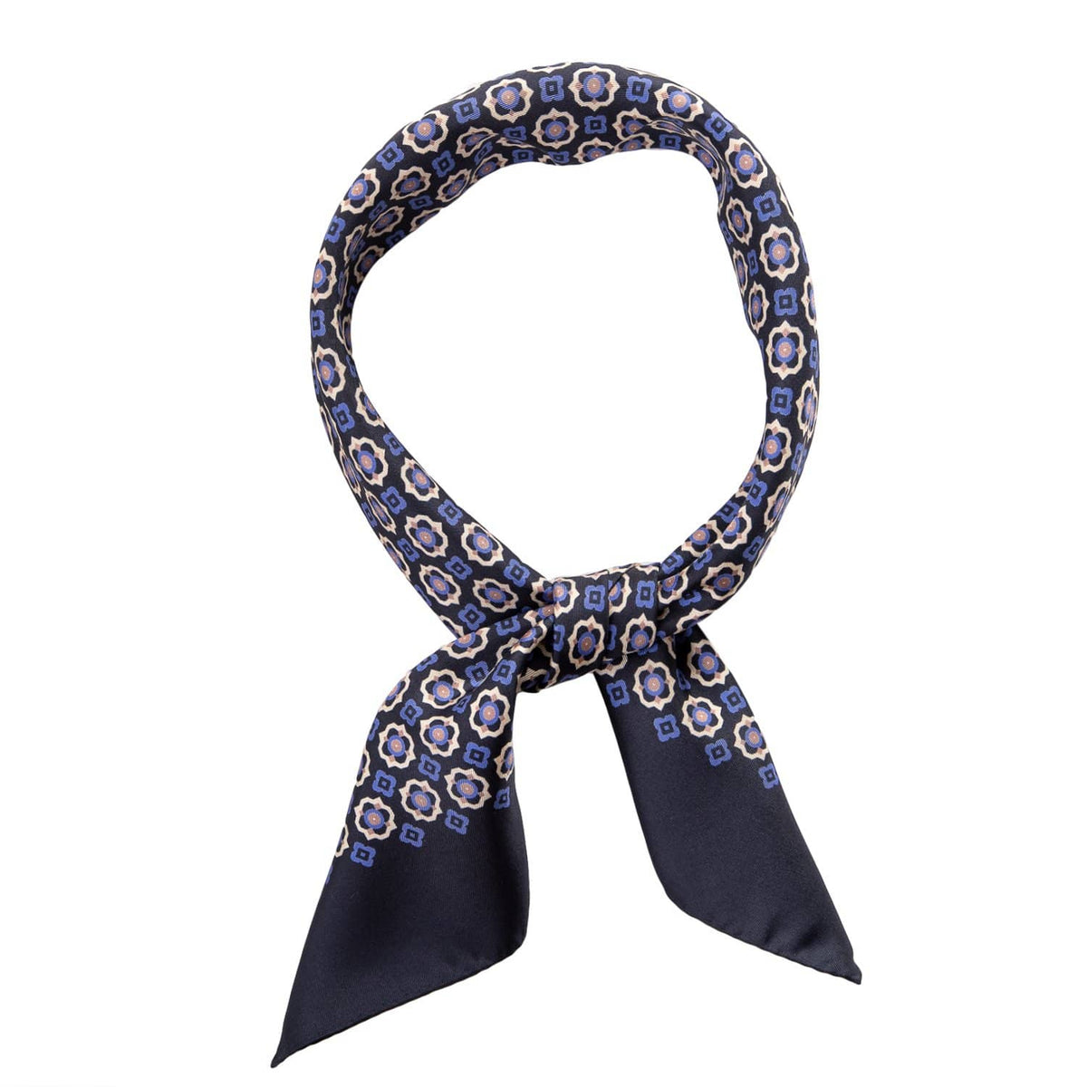 luxury blue silk bandana for men
