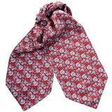 Mens Ascot Tie - Italian Red & Navy Floral Print