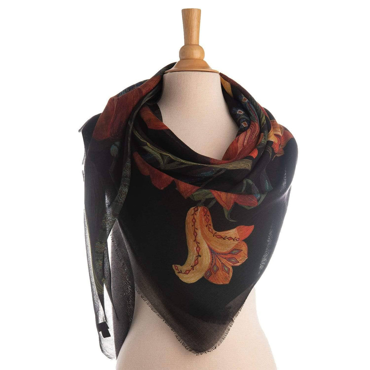 black floral scarf with floral pattern