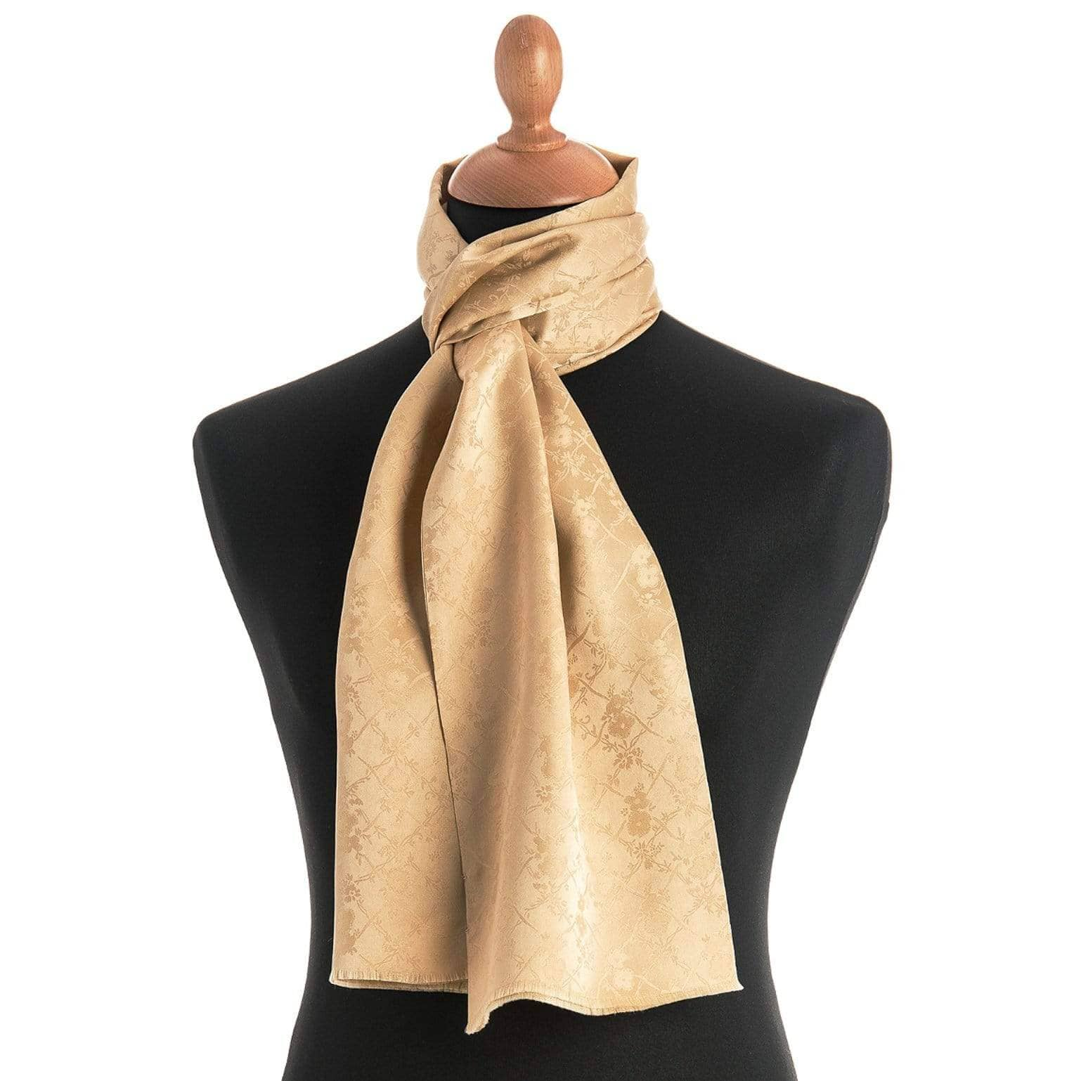 luxury gold floral silk scarf for man
