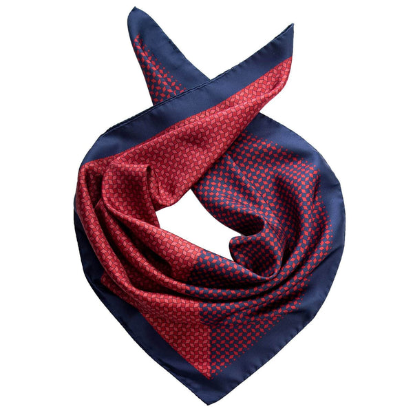 Mens Silk Neckerchief-Red and Navy-Made in Italy
