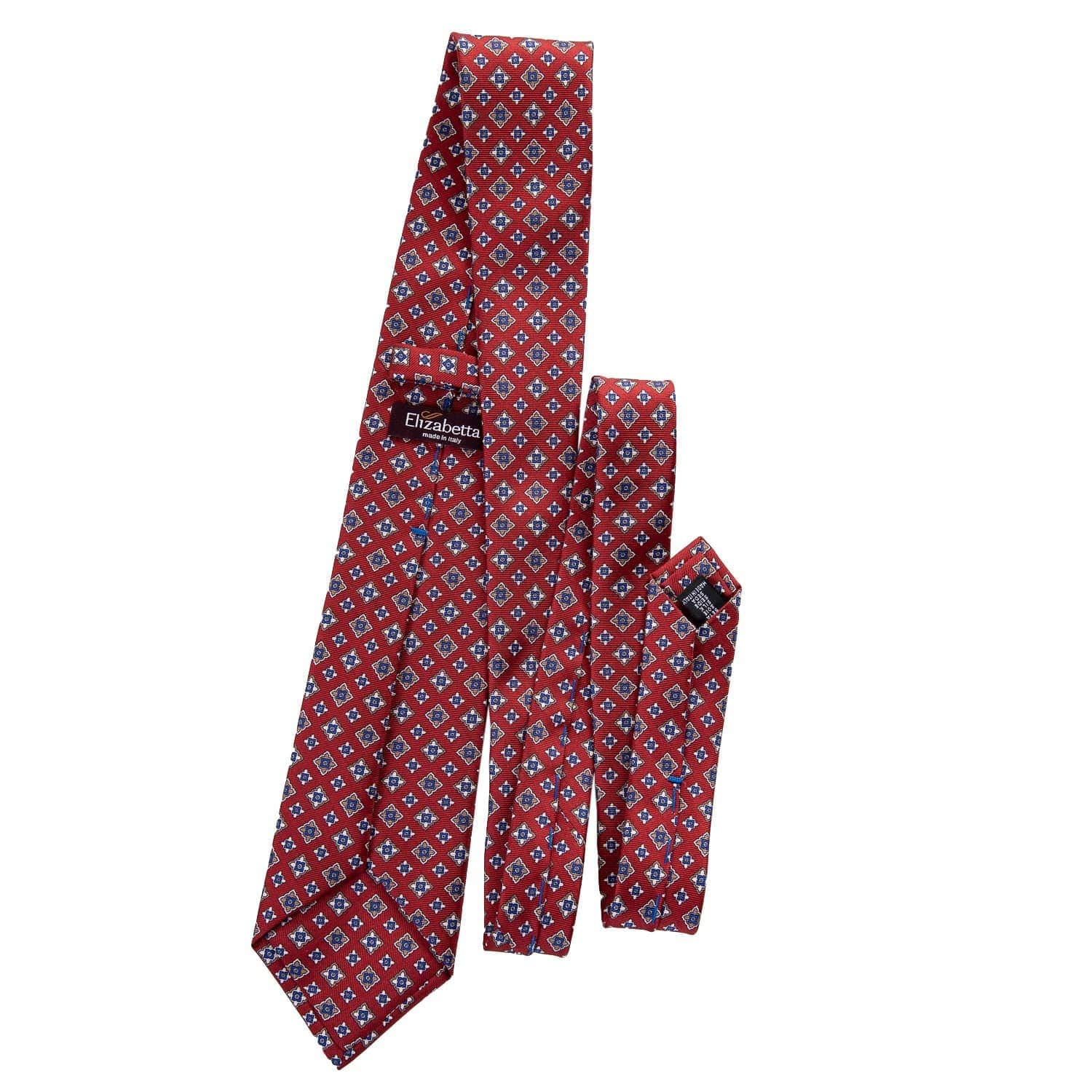 Luxury Red Silk Tie - 3 Fold - Handmade in Como Italy