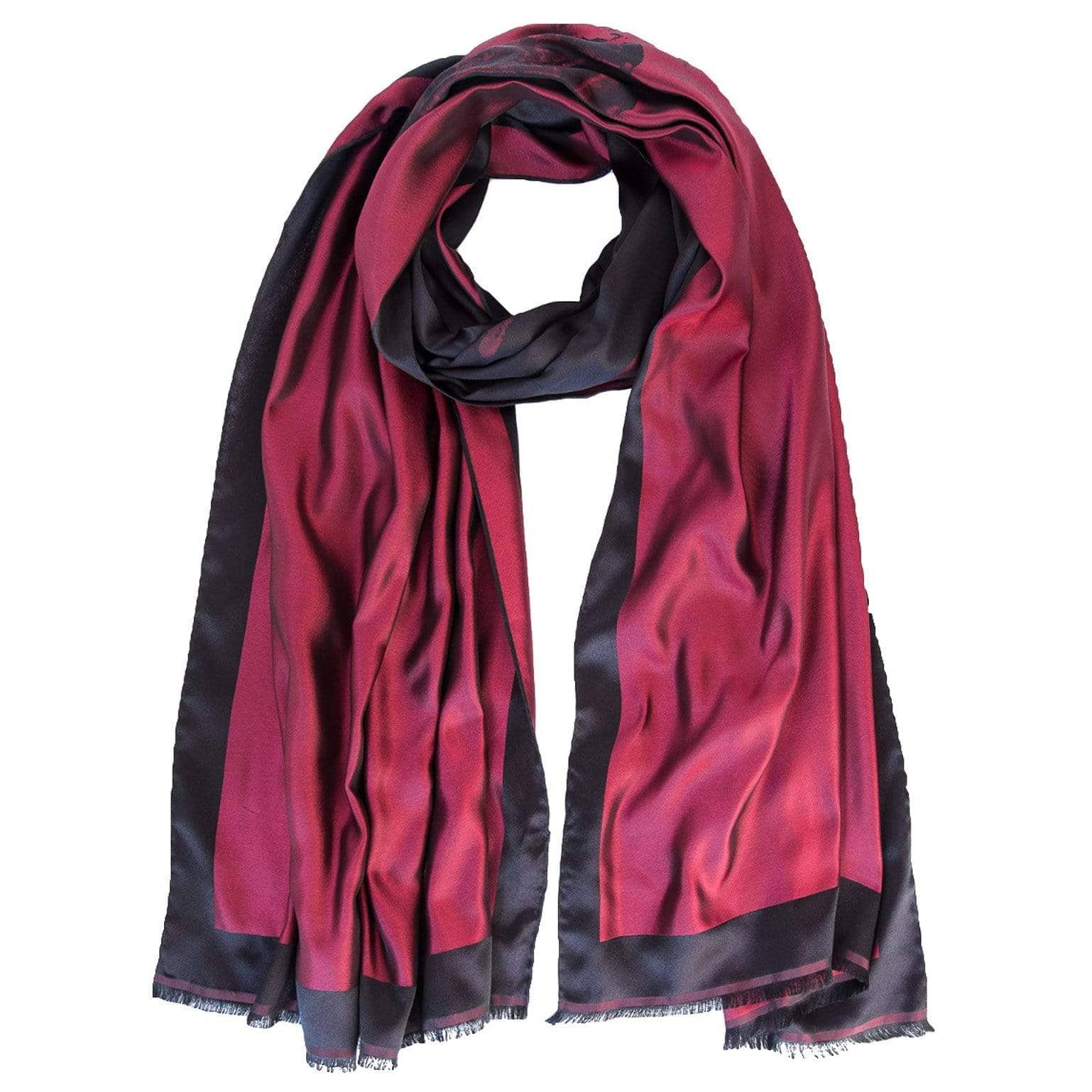 Ruby Red Silk Evening Shawl - Handmade in Italy