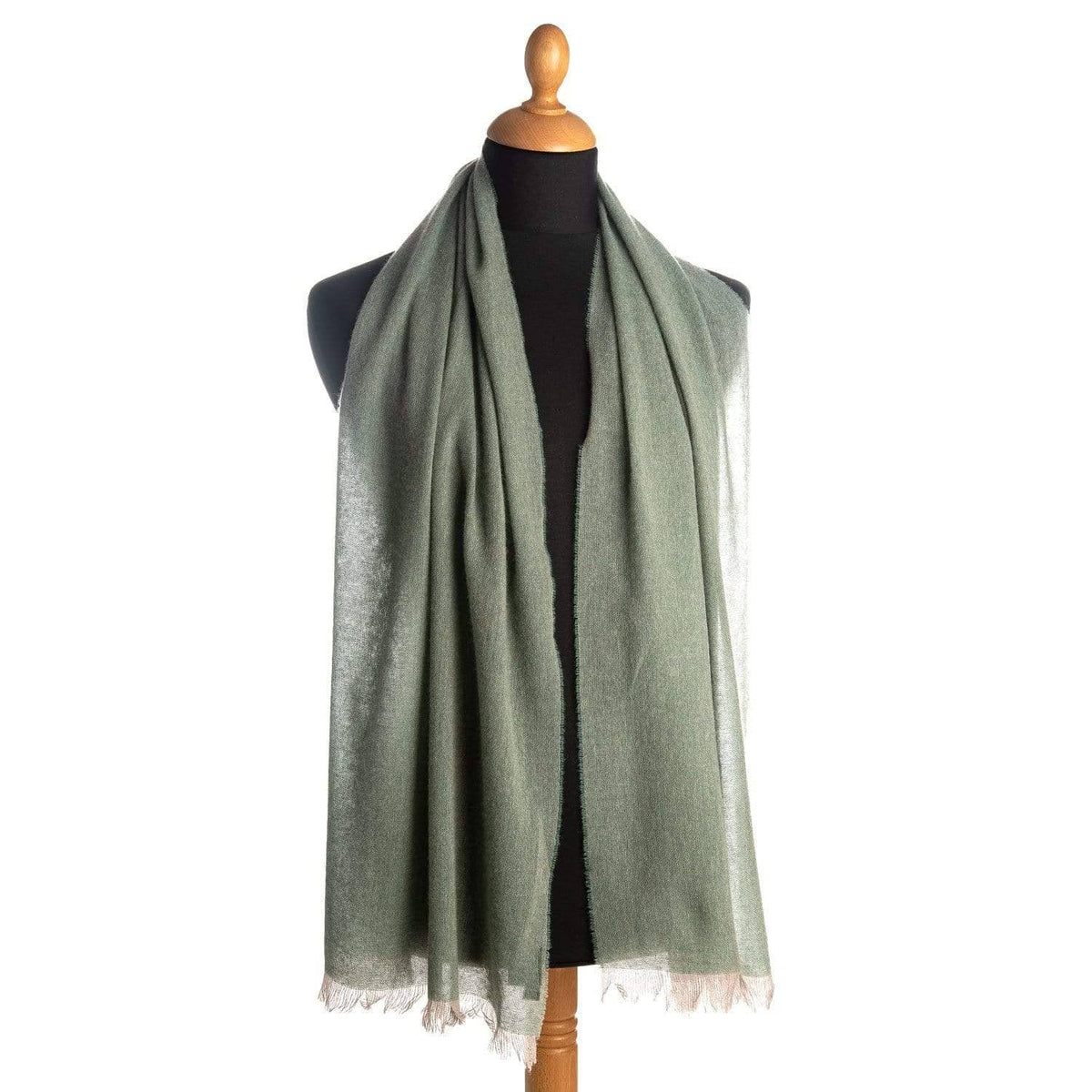 pale green pure cashmere scarf