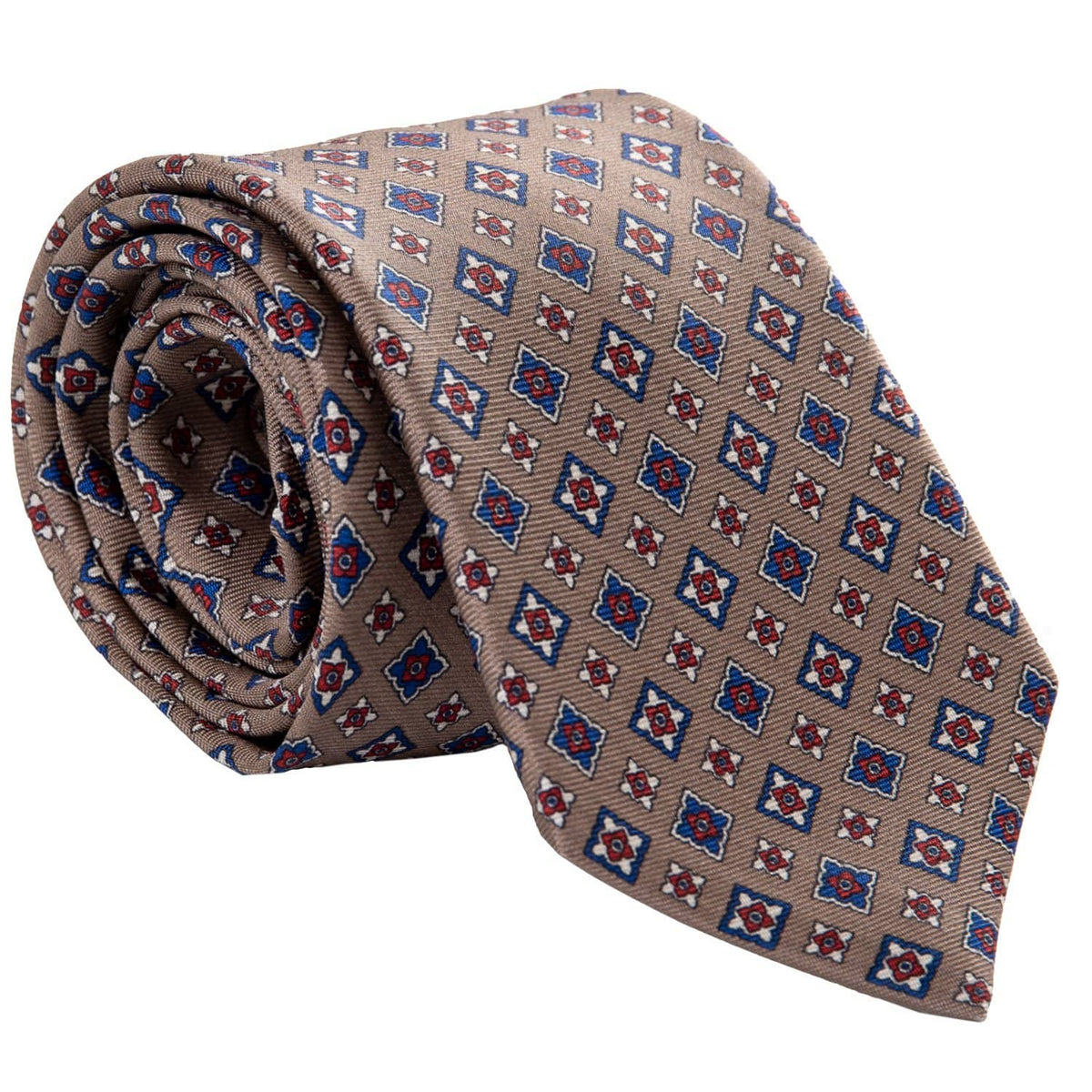 Patterned Tan Silk Tie - Extra Long - Handmade in Italy