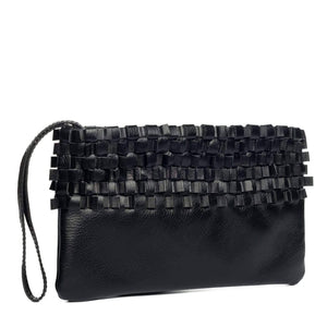 black woven leather evening clutch with wrist band