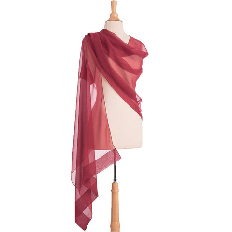 Italian Luxury Silk Burgundy Chiffon Shawl Wrap