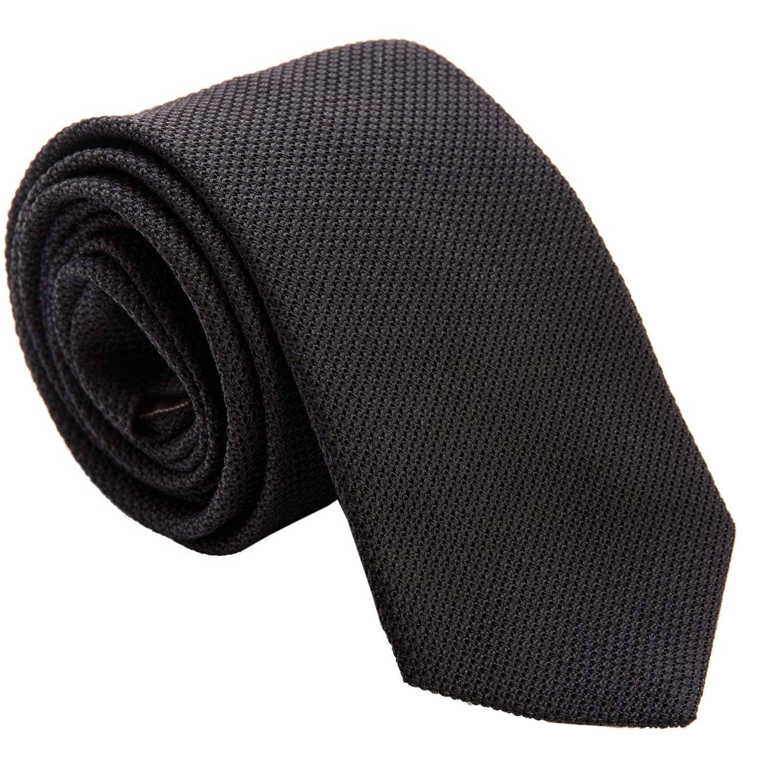 Black Silk Grenadine Tie - Extra Long - 100% Italian
