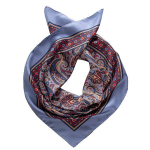 Blue Paisley Silk Scarf - Neckerchief - Made in Italy