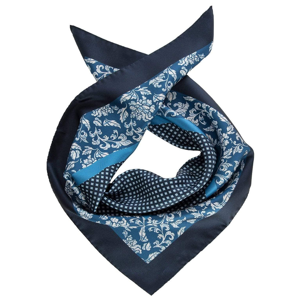 Mens Silk Neckerchief - Blue - 100% Made in Italy