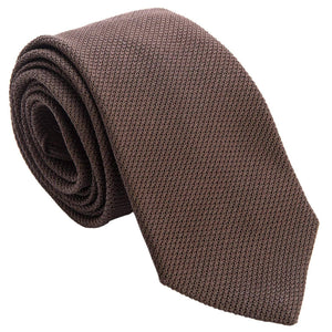 solid brown silk tie from Como Italy