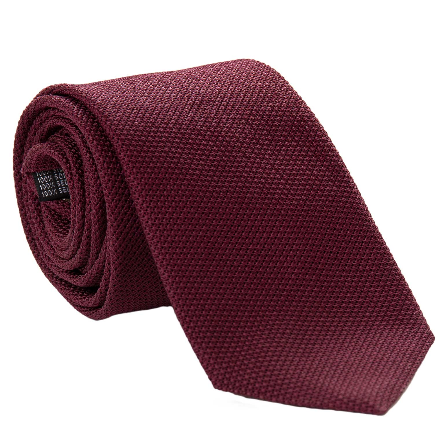 Extra Long Grenadine Silk Tie - Solid Burgundy