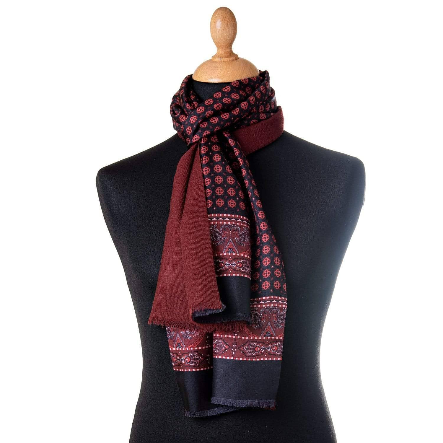 mens silk wool reversible scarf