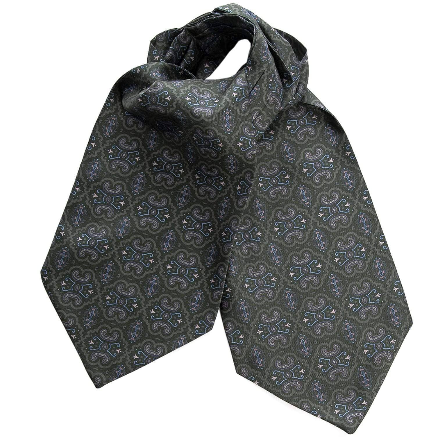 Silk Ascot Cravat Tie - Green - 100% Made in Italy