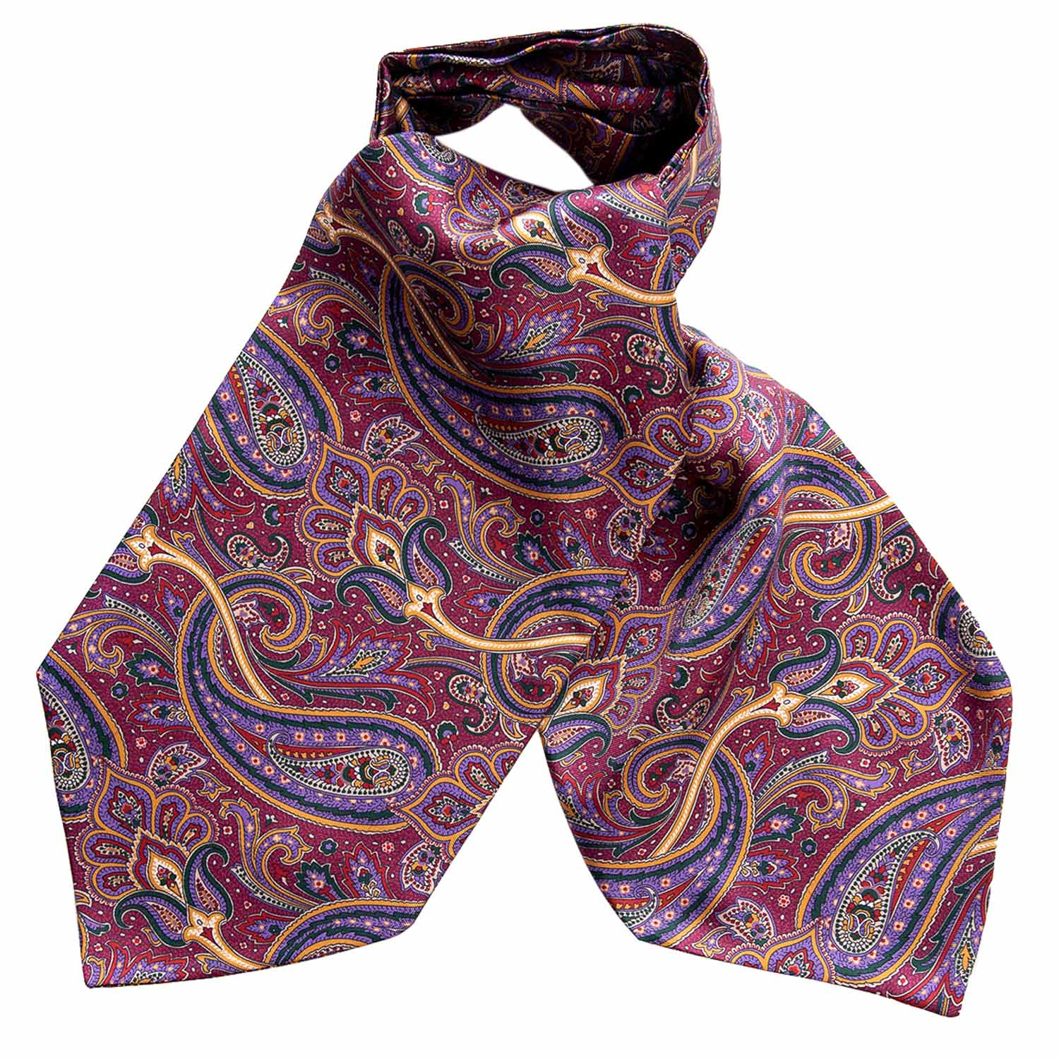 Paisley Ascot Tie - Magenta and Purple Print